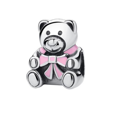 Teddy Bear with Pink Bowknot Charm Sterling Silver