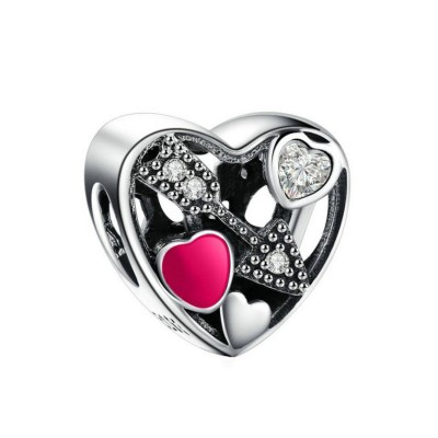 Arrow Hearts Charm Sterling Silver