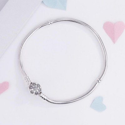 Snowflake Crystal Round Shape Clasp Bracelet Sterling Silver