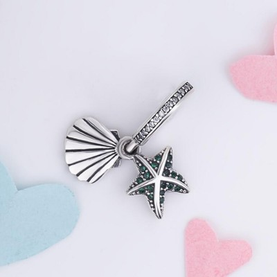 Green Starfish & Shell Charm Sterling Silver