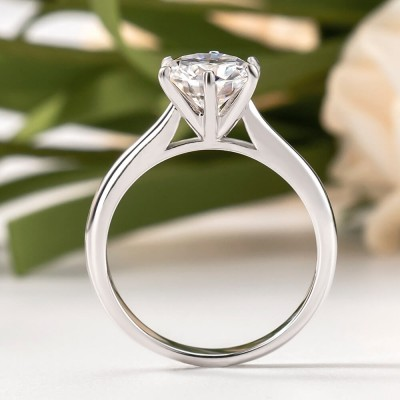 2.0 ct Classic Round Cut 6-Prong Moissanite Solitaire Sterling Silver Engagement Ring