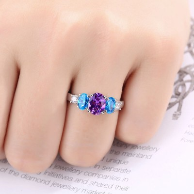 Oval Cut Amethyst Sterling Silver Three-Stone Engagement Ring