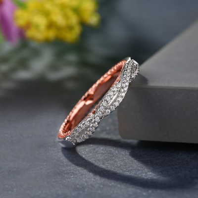Twisted Round Cut White Sapphire Sterling Silver Rose Gold Inside Women's Wedding Band