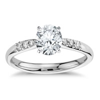 Round Cut White Sapphire 925 Sterling Silver Womens Engagement Ring